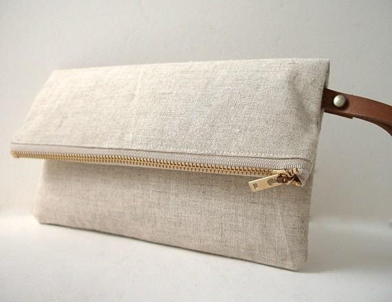 Wristlet, Linen Clutch Purse - Natural Linen, Leather Wrist Strap (Brass Zipper)