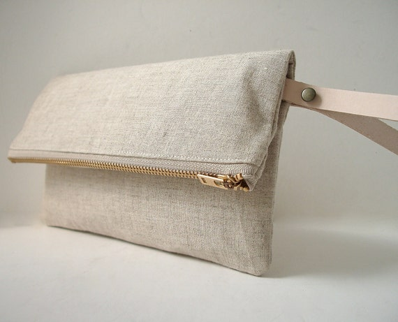 Wristlet, Linen Clutch Purse - Natural Linen, Leather Wrist Strap (Brass Zipper)