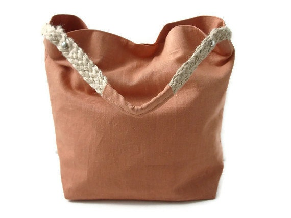 Beach Bag - Linen and Jute Tote Bag - Sun-washed Apricot and Natural Braided Jute