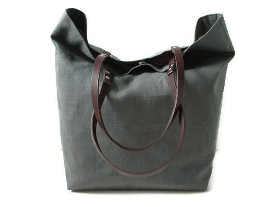 Linen Tote Bag, Large Tote, Women,  Dark Gray Linen and Leather, Market Tote Bag for Fall