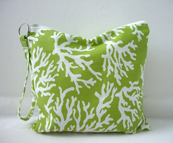 Utility Pouch - Water resistant bag, Fresh Green and White Coral Print