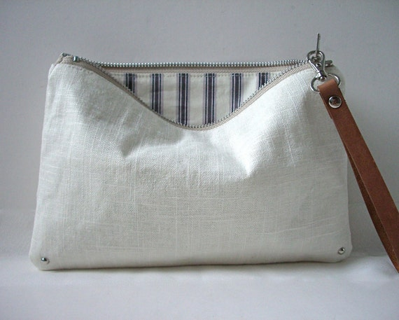 Simple Linen Clutch, Pouch - Ivory Linen and Leather Wrist Strap