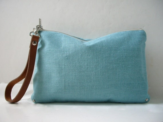 Simple Linen Clutch Bag - Mineral Blue with Leather Wrist Strap