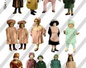 Digital Collage Sheet Winter Kids2 (Sheet no. H7) Instant Download