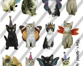 Digital Collage Sheet Cats with Wings (Sheet no. FS4) Instant Download