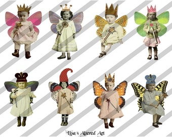Digital Collage Sheet Fairies with Wings 6 (Sheet no. FW6) Instant Download
