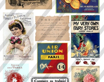 Ephemera Digital Collage Sheet Ephemera 2 (Sheet no. E2) Instant Download