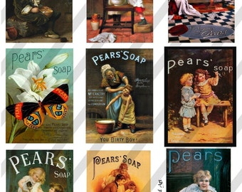 Pears Soap Ads Digital Collage Sheet  (Sheet no. E6) Instant Download