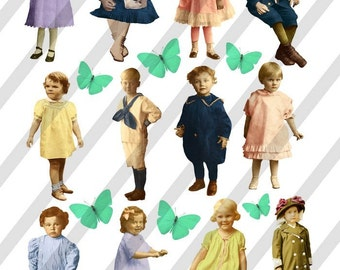 Digital Collage Sheet Vintage Children (Sheet no. F21) Instant Download