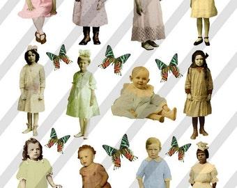 Digital Collage Sheet Vintage Children No. 9  (Sheet no.F9) Instant Download
