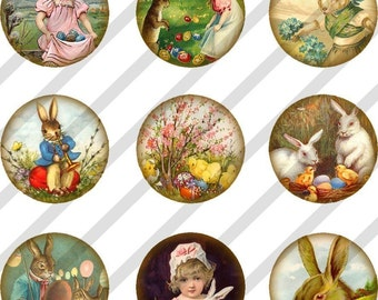 Digital Collage Sheet Bottle Cap Charms Easter Images One inch Circles (Sheet no.FS84) Instant Download