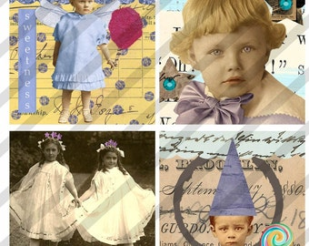 Digital Collage Sheet  Collage Art Glass Slides No.8  2 X 2 (Sheet no. FS44) Instant Download