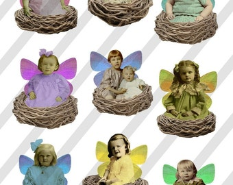 Digital Collage Sheet Fairies in Nests (Sheet no. FS5) Instant Download