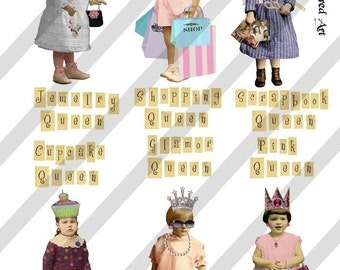 Digital Collage Sheet Queen Series 1 PNG file available (Sheet no. Q1) Instant Download