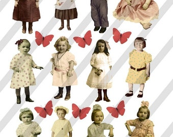 Digital Collage Sheet Children (Sheet No. F6) Instant Download