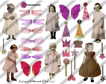 Digital Collage Sheet Larger Fairies 4 (Sheet no. B4) Instant Download
