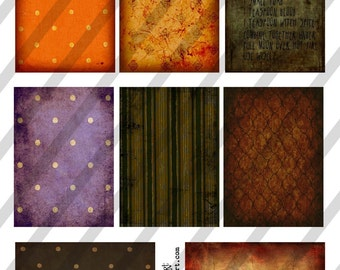 Digital Collage Sheet Halloween Backgrounds No. 2 ATC cards 2.5 X 3.5  (Sheet no. H19) Instant Download