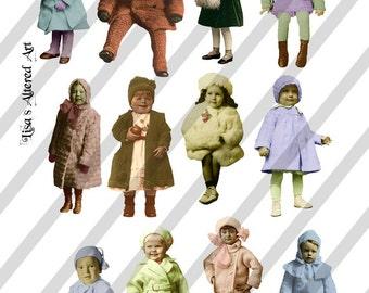 Digital Collage Sheet Winter Fairies 1 ( Sheet No. H6) Instant Download