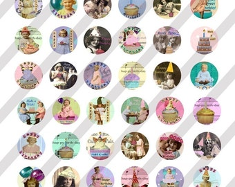 Digital Collage Sheet Bottle Cap Charms Birthday Images (Sheet no.FS60) Instant Download