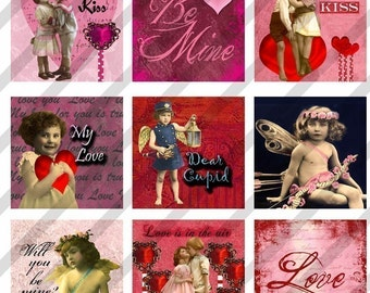 Digital Collage Sheet  Altered Art Slide Images  1.5 X1.5  Valentine Love (Sheet no.FS75) Instant Download