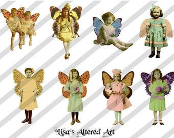 Digital Collage Sheet Fairies With Wings (Sheet no.FW19) Instant Download