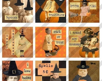 Halloween digital collage sheet,  Altered art, 1.5 X1.5  inch  and 1 X 1 Inch Halloween images, 2 Sizes (Sheet no.FS56) Instant Download