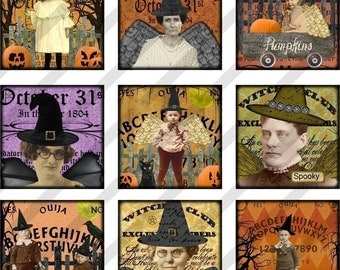 Halloween Digital Collage Sheet Images, Halloween Images 1.5 X 1.5 Inches (Sheet no. FS98) Instant Download