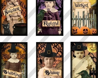 Digital Collage Sheet Altered Art Domino Witches Halloween 1X2 inches (Sheet No. FS100) Instant Download
