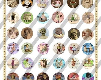 Digital Collage Sheet, Bottle Cap Image Charms, 1 inch Circles (Sheet no. FS21) Instant Download