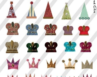 Digital Collage Sheet Hats and Crowns (Sheet no. FS6) Instant Download