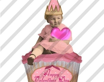 Digital Collage Sheet Valentine Cupcakes (Sheet no. H15) Instant Download