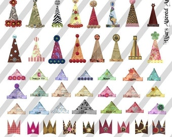 Digital Collage Sheet Hats and Crowns 2 (Sheet no.FS24) Instant Download