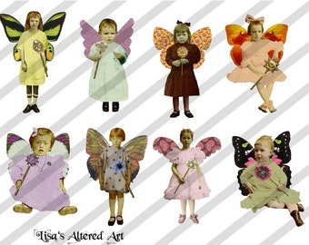 Digital Collage Sheet Fairies With Wings 13 (Sheet no. FW13) Instant Download