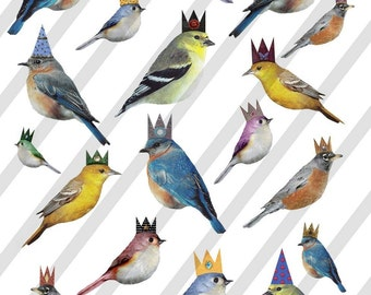 Digital Collage Sheet Birds With Crowns  PNG file available (Sheet no. FS3) Instant Download