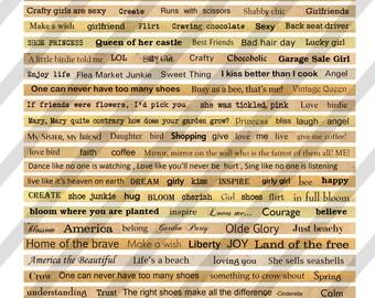 Digital Phrase Collage Sheet 7 (Sheet no.FS74) Instant Download