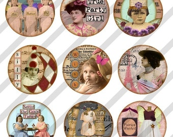 Digital Collage Sheet This and That Bottle Caps 1 inch Charm Circles (Sheet no.FS87) Instant Download