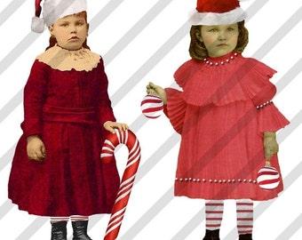 Digital Collage Sheet Christmas Fairies No.3 (Sheet no. H22) Instant Download