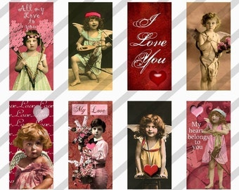 Valentine Digital Collage Sheet Domino Art 1x2 inch Images (Sheet No.FS76) Instant Download