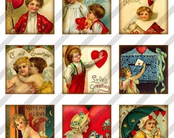 Digital Collage Sheet 48 1X1 Charms Inchies Valentine Cards (Sheet no. FS78) Instant Download