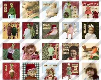 Digital Collage Sheet  Altered Art Charm Images 1 inch by 1 inch Christmas (Sheet no.FS62) Instant Download