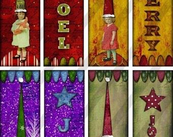 Digital Collage Sheet Altered Art Slide Images 1 X 3 Christmas (Sheet no.FS108) Instant Download