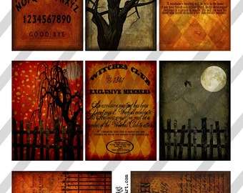 Digital Collage Sheet Halloween Backgrounds No.1 ATC backgrounds 2.5 X 3.5 (Sheet no. H18) Instant Download