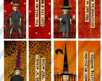 Digital Collage Sheet Halloween Images 1 X 3 Witches (Sheet No. FS131) Instant Download