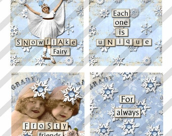 "Digital Collage Sheet Slides SNOW Fairies 1.5"" X 1.5"" Images.Christmas (Sheet No.FS138) Instant Download"