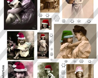 Digital Collage Sheet Christmas Postcard Images (Sheet no. O21) Instant Download