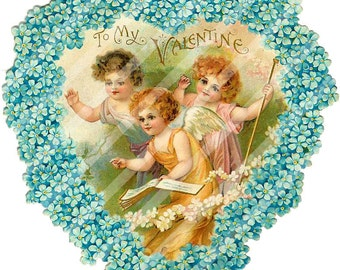 Digital Collage Sheet  Victorian Valentine Postcard Images (Sheet no. O43) Instant Download