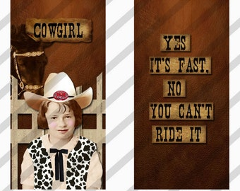 Cowgirl Domino Digital Collage Sheet Art 1x2 inch Images  (Sheet no.FS153) Instant Download