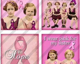 Digital Collage Sheet  1X1 inch  Breast Cancer Awareness  (Sheet no.FS154) Instant Download