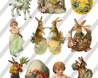 Digital Collage Sheet Easter Images (Sheet no. O107) Instant Download