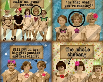 NEW Digital collage sheet  1.5X1.5 AND 2X2 inch Charms Girlfriends No. 2 (Sheet no. FS161) Instant Download